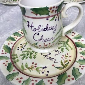 Capriware Hamdpainted Matching Cup Mug and Dessert